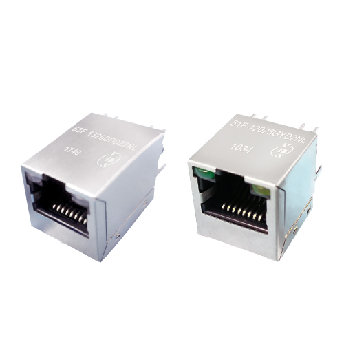 51F/53F(1G) Series Single Port 1000 Base-T TAB Up Vertical RJ45 Jack With Magnetics